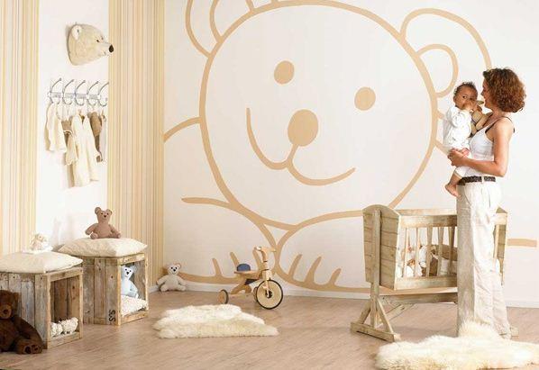 Дизайн стены в детской комнате своими