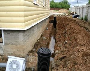 Укладка труб ливневой канализации