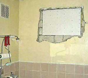 Заделка окна в ванной влагостойким гипсокартоном